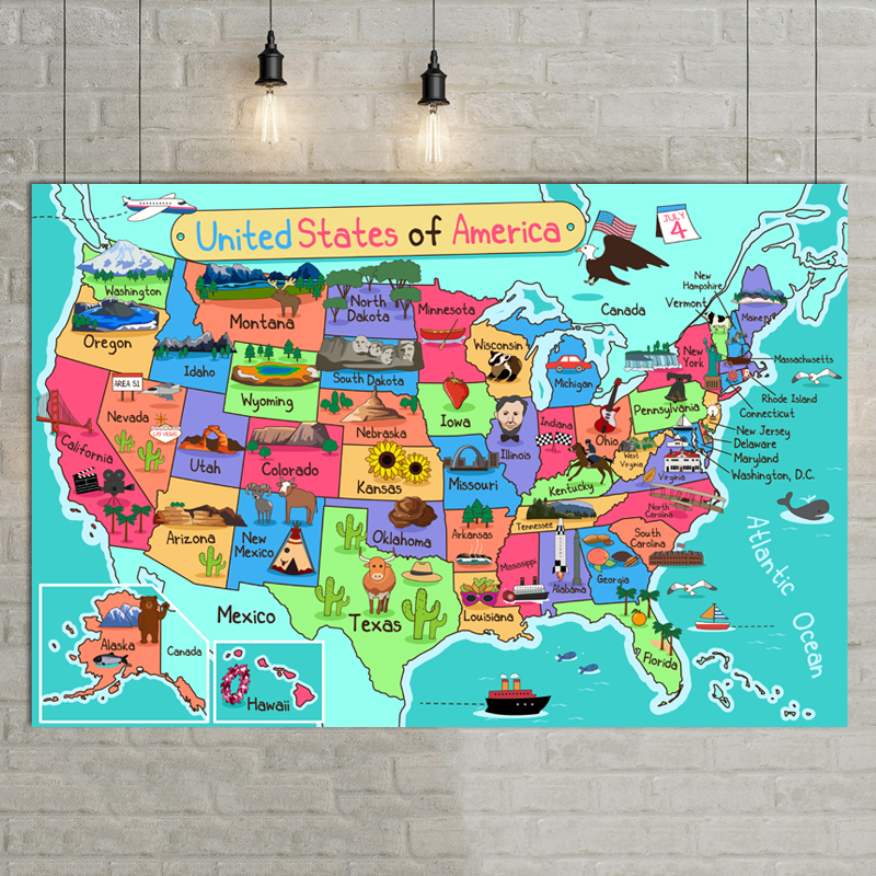 United States Carton Illustration Map Poster Size Wall Decoration Large Map Of America  30x40 Waterproof And Tear-resistant