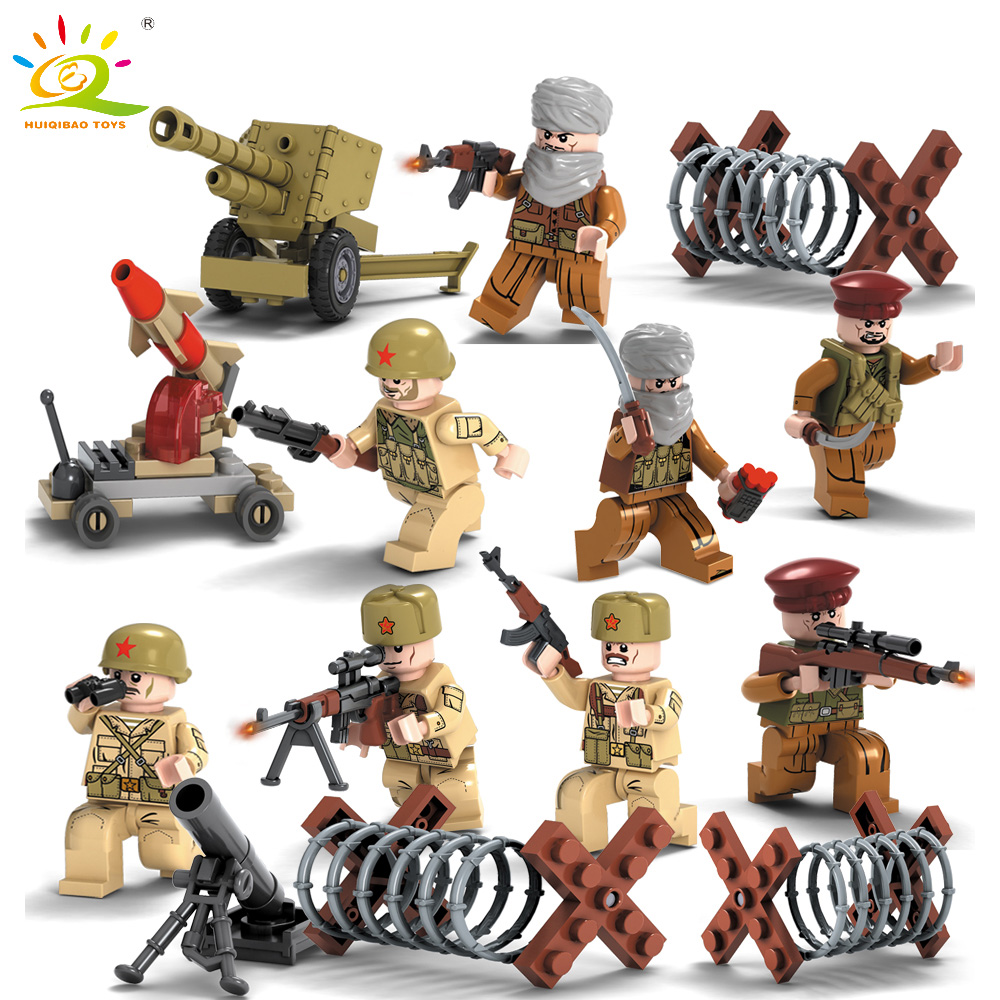 8pcs Soviet Union CCCP Army Soldier with Weapons Building Blocks Compatible Legoed military WW2 SWAT Police Toy for Children Boy цена