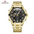 Мужские часы Mizums из нержавеющей стали черного золота  мужские кварцевые наручные часы  мужские цифровые водонепроницаемые часы D светодиод...