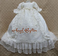 Ruffles Long Sequined Beaded Pleats White/Ivory Lace Baby Infant Boys Girls Formal Christening Gown Baptism Robe Dress