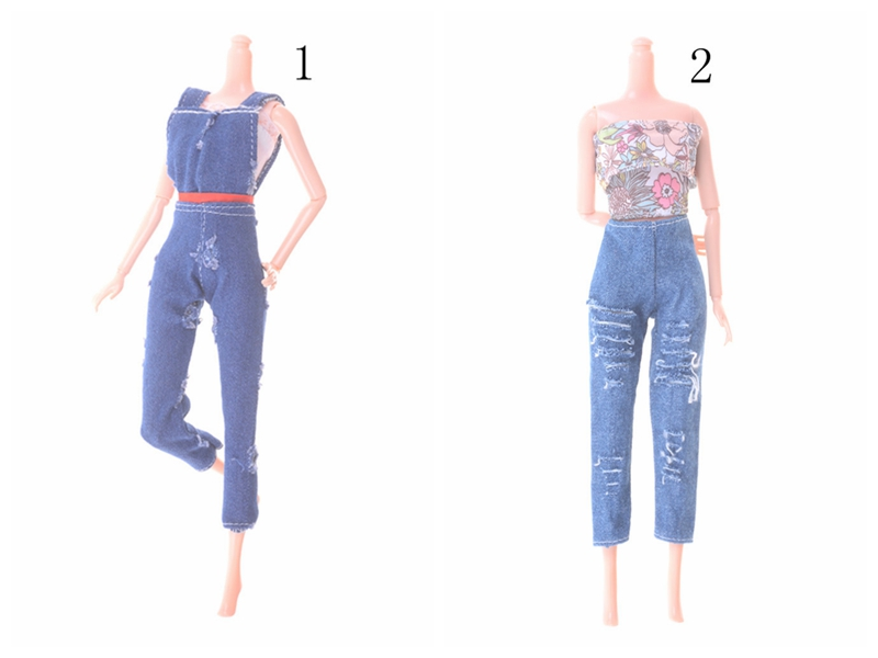 Fashion Handmade Hole Jeans For Doll Clothing Denim Overalls Toys Accessories Christmas Gift