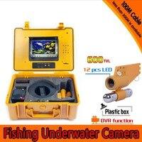 מתחת למים מצלמה דייג ערכת עם 100 מטר אחד עומק עופרת בר & 7 אינץ צג עם DVR מובנה & צהוב קשה מקרה פלסטיק