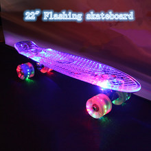 "New 22"" transparent banana skate board with LED light single rocker longboard the deck and wheels all flashing ABEC-9 skateboard(China)"