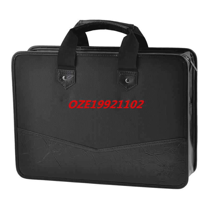 все цены на 1PCS 39cm x 28.5cm 3 Pockets Zip Up Nylon Faux Leather File Documents Bag Holder