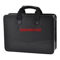 1PCS 39cm x 28.5cm 3 Pockets Zip Up Nylon Faux Leather File Documents Bag Holder