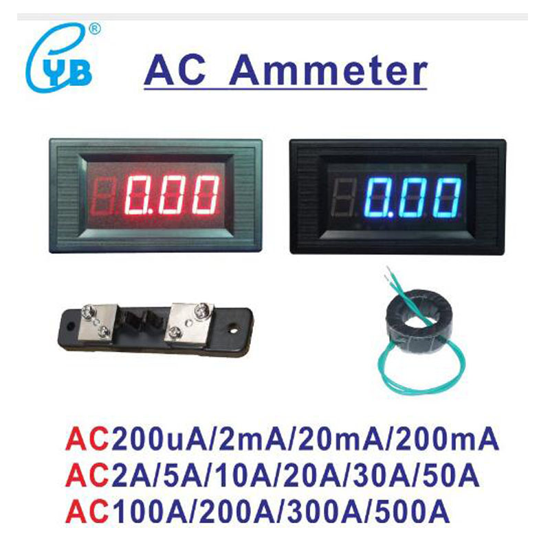 Electrical Instruments Yb5135a Ac Led Digital Current Meter Ammeter Ampere Ac 200ma 2a 10a 50a 100a 200a 300a 500a Micro Ammeter Amp Meter Icl7107 Refreshing And Enriching The Saliva Current Meters