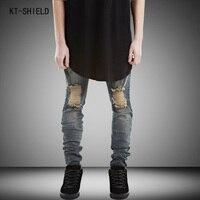 New Hi-Street Mens Ripped biker jeans Men Plus Size 28-38 Fashion Male Distressed Skinny Jeans Destroyed Denim denim overalls