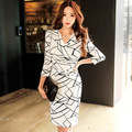 Autumn Bandage Office Sexy Party Bodycon Vintage Winter White Black Dress Vestidos Plus Size fashion socialite V-Neck Slim Dress