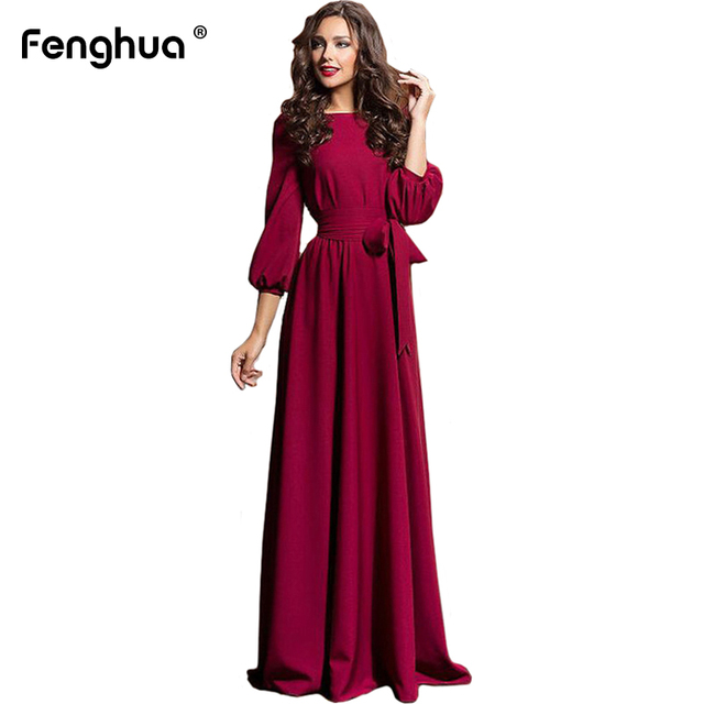 Fenghua New Vintage Spring Summer Dress Women 2019 Casual Plus Size Slim  Maxi Dress Female Elegant Solid Long Party Dress 2XL b4b9df0188e0
