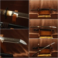 New Handmade 1095 Carbon Steel Blade Clay Tempered Japanese Vintage Samurai Wakizashi Sword Sharp Can Cut Tree Bamboo JPW02