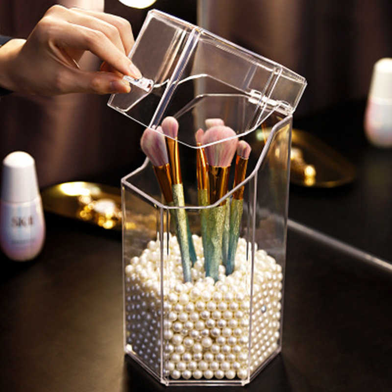 Stylish And Simple Acrylic Makeup Brush Holder Bucket Transparent Beauty Brush Container Pen Brush Storage Box Desktop Organizer