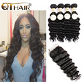 Brazilian Virgin Hair Loose Deep With Closure 4 Bundles Brazilian Virgin Hair With Closure Unprocessed Human Hair With Closure