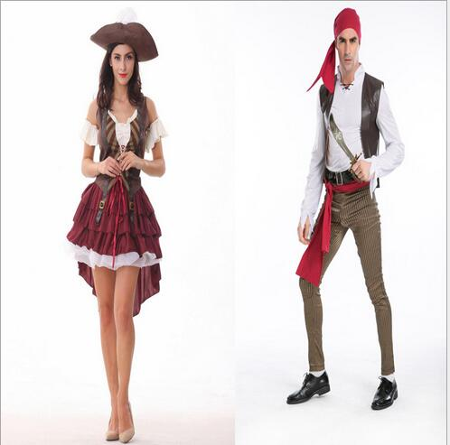 New <font><b>Sexy</b></font> <font><b>Men</b></font>/Women Pirate Costume <font><b>Halloween</b></font> Fancy Party Dress Carnival Performance high quality Adult Pirate Cosplay Costumes image