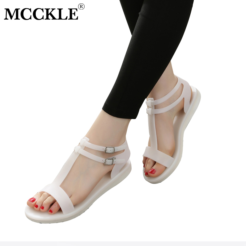 MCCKLE Women T Strap Flat Sandals Jelly Shoes Female Double Buckle Strap Platform Casual Summer Woman Comfortable Shoe women sandals 2017 summer shoes woman wedges fashion gladiator platform female slides ladies casual shoes flat comfortable