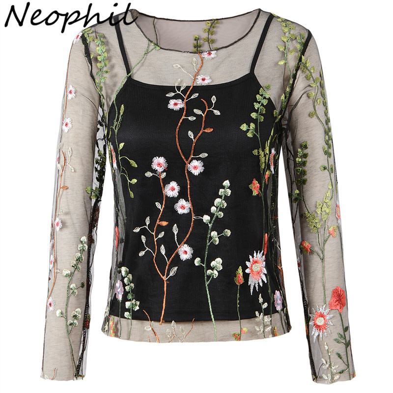 Neophil Floral Embroidery Women Tops Transparent Mesh Long Sleeve   Blouses     Shirts   O Neck 2019 Summer Fashion Femme Blusas B1706