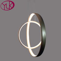 New Modern LED Chandelier For Living Room Double Rings Home Decor Hanging Acrylic Lamps Creative Design