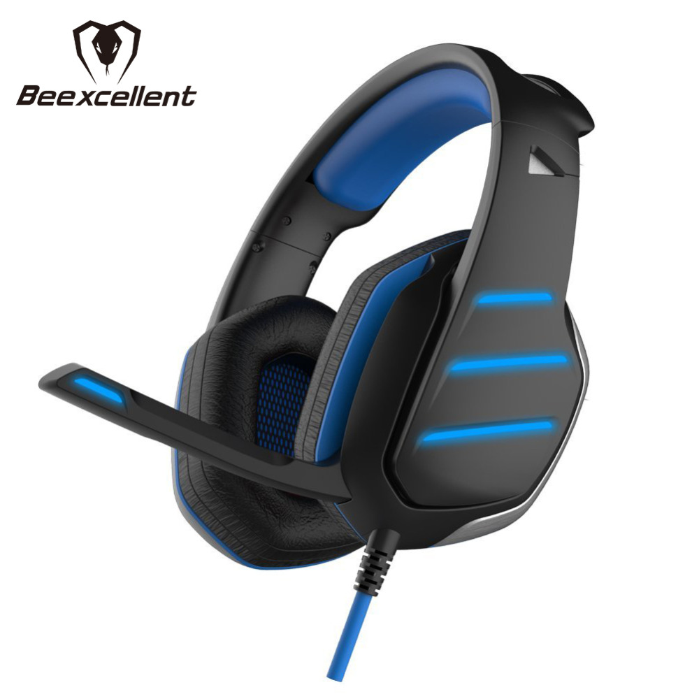 Beexcellent GM-3 Wired Stereo LED Light Bass Over-ear Professional Gaming Headphones with 3.5mm Mic Noise Isolating for Laptop combaterwing m160 headset earphone ultra light ergonomic headphones over ear stereo with mic noise isolating for pc mac th58
