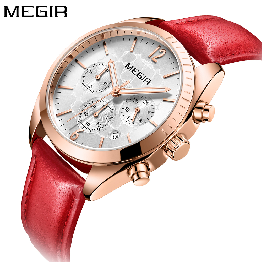 MEGIR Brand Luxury Fashion Rose Gold Watch Quartz Watches Women Red Leather Band Wristwatch Ladies Clock Women reloj mujer 2018 kimio brand bracelet watches women reloj mujer luxury rose gold business casual ladies digital dial clock quartz wristwatch hot page 2