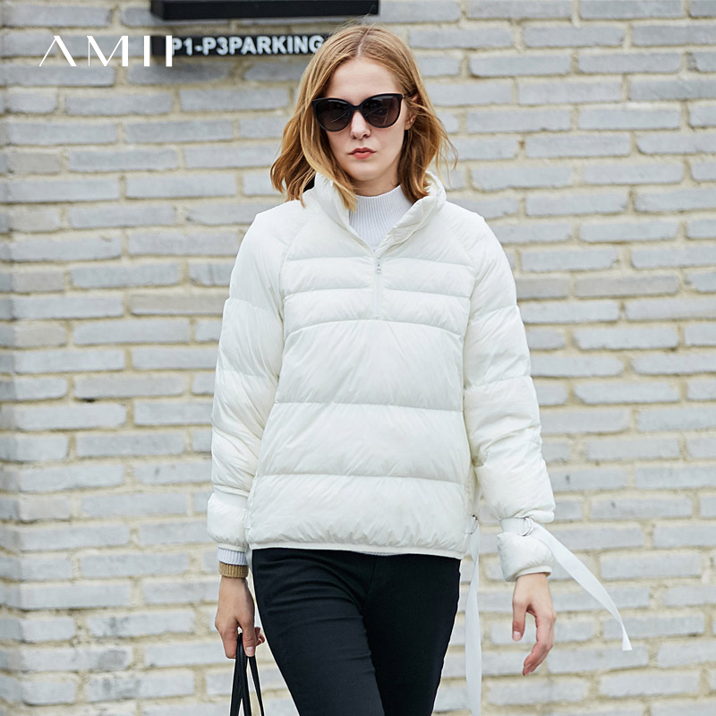 Amii Minimalist Women Short   Down     Coat   Winter 2018 Causal Solid Turtleneck Light Female Warm Bubble   Coat