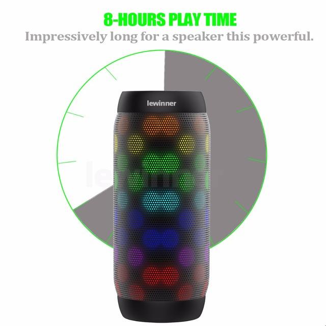 Lewinner colorful Waterproof LED Portable Bluetooth Speaker