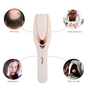 Image 2 - Ckeyin fototerapia vibração massagem pente couro cabeludo escova alívio do estresse pescoço volta anti perda de cabelo circulação sanguínea com luz led