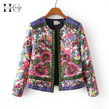 HEE GRAND Vintage Cotton-Padded Jackets 2019 Autumn Outwear New Embroidery Flower Print Short Jacket Female Casual Coats WWJ936