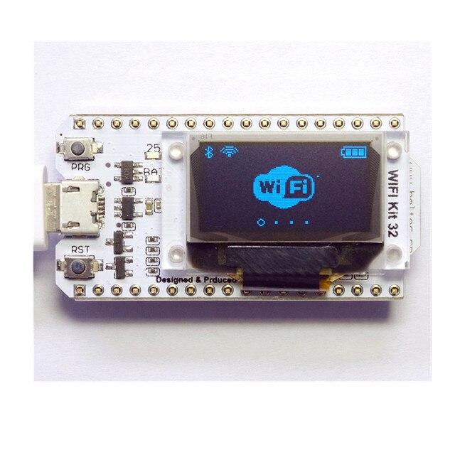 ESP32 Bluetooth WI-FI Kit CP2102 Módulo Display OLED de 0.96 polegada Azul 32 M Flash de 3.3 V-7 V Internet Placa de desenvolvimento para Arduino