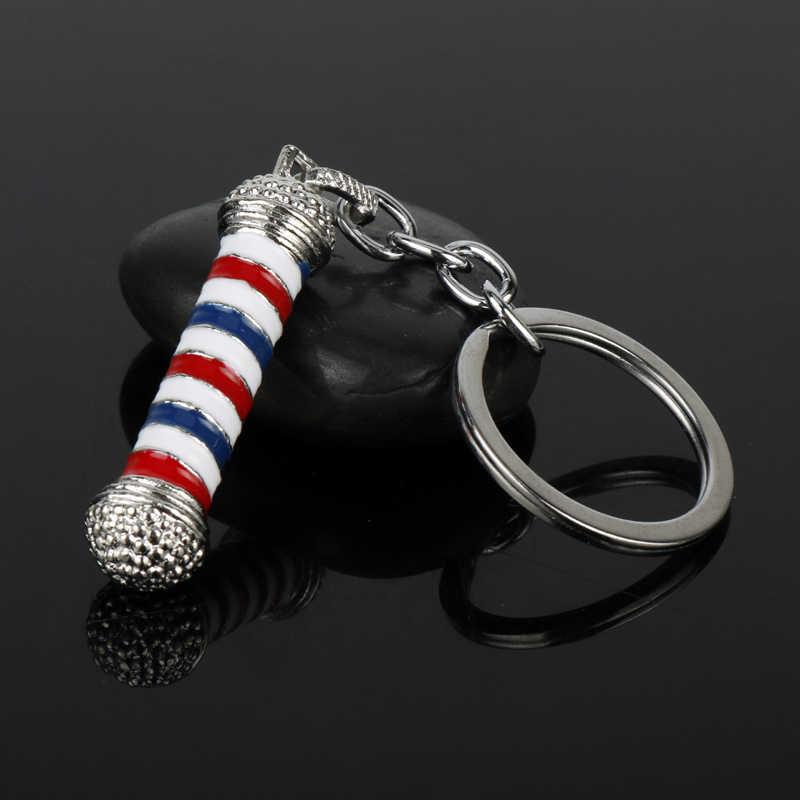 MQCHUN fryzjer sklep maszt 3D fryzjera słup brelok wisiorek breloczek Hip Hop fryzjer fryzjer Gothic Keyring-50