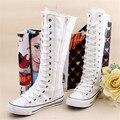 NUEVO de las mujeres de largo alta Plana barreled zapatos cremallera lateral de color sólido lienzo zapatos casuales las mujeres de alta de la pierna botas # D047
