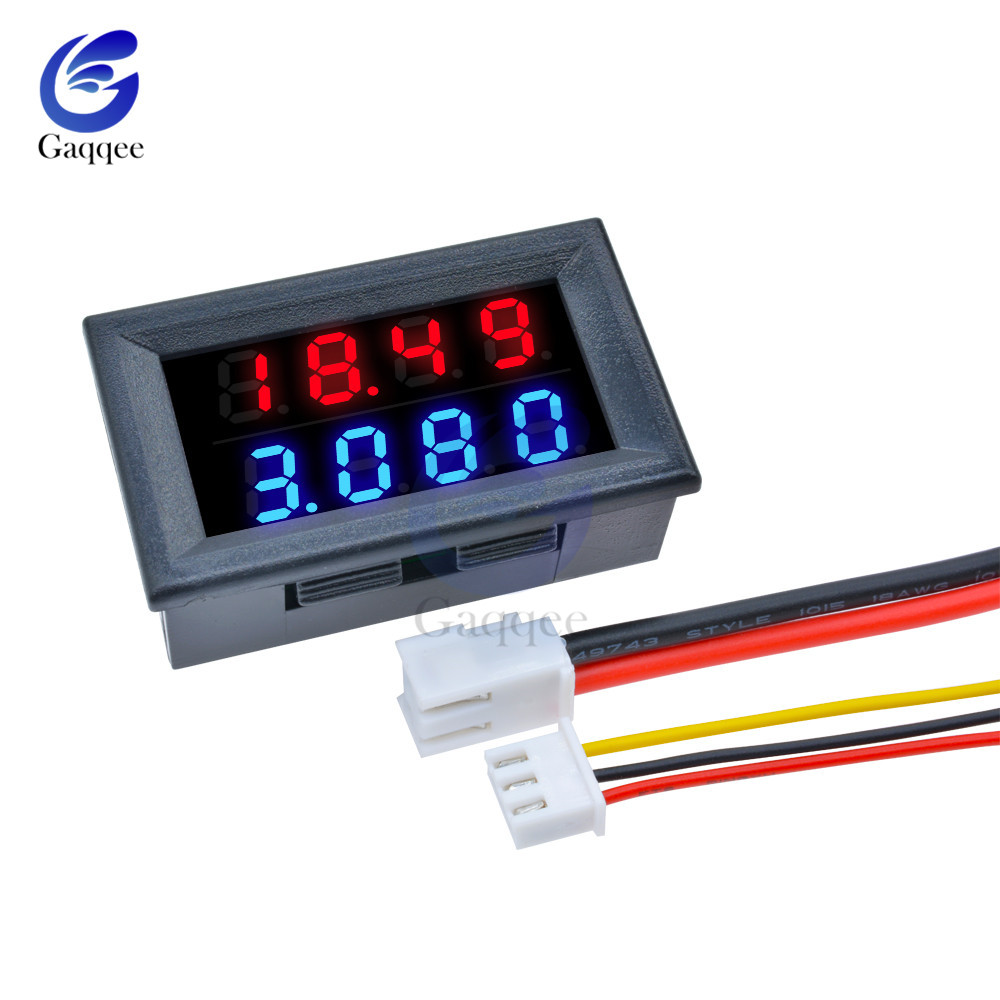 detail feedback questions about digital dc voltmeter ammeter 4 bit 5 wires dc 200v 10a voltage current amp panel meter power supply red blue led dual  [ 1000 x 1000 Pixel ]