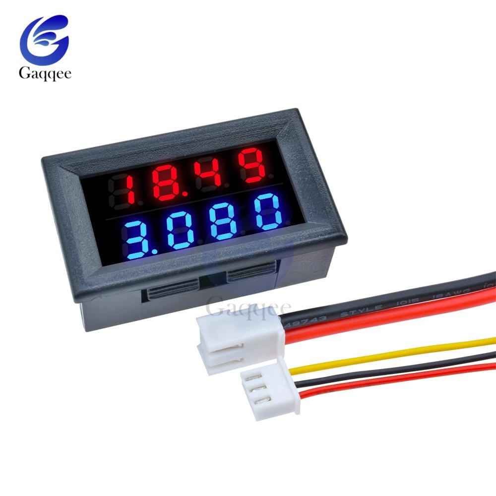Digital DC Voltmeter Ammeter 4 Bit 5 Wires DC 200V 10A Voltage Current Amp Panel Meter Power Supply Red Blue LED Dual Display