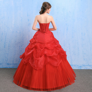 Image 3 - YC73#Lace up Bride s Wedding dress red Ball Gown wholesale cheap dresses New spring summer 2019 Floor Length