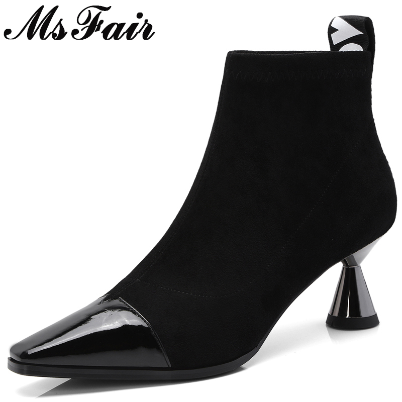 MSFAIR Women Square Toe High Heel Ankle Boots Fashion Concise Square heel Ankle Boots Women Shoes Slip-On Boots Shoes Woman fashion shoes women boots in ankle boots flock square heel non slip leopard print martin boots for autumn