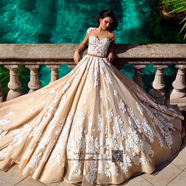 Country Western Wedding Dresses Turkey Champagne Wedding Gowns Lace