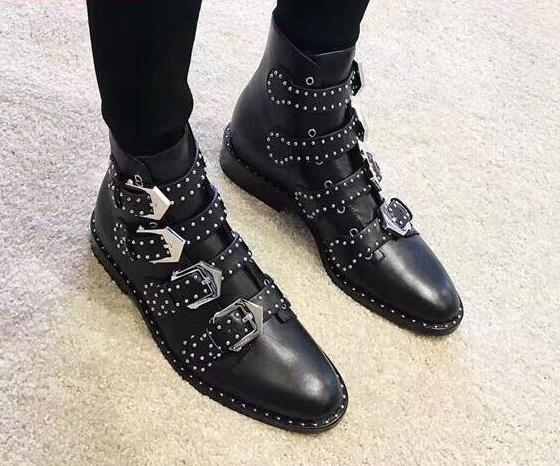 Knight Style Ladies Square Heel Boots Studded Leather Buckles Women Ankle Boots Spring Hot Female Fashion Street Boots Size 42 - 3