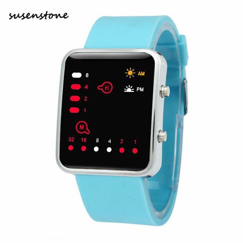 Susenstone Marke 2016 Männer Frauen Uhren Sportswristwatches Digitale Rote Led Outdoor Uhr Binäre Armbanduhr Silikon Y28 Ein Unverzichtbares SouveräNes Heilmittel FüR Zuhause Herrenuhren