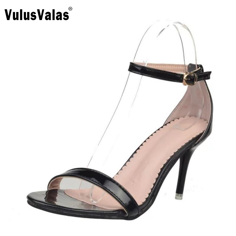 Women's High Heel Sandals Women Open Toe Solid Color Ankel Strap Thin Heels Sandal Summer Shoes Office Lady Footwears Size 35-39