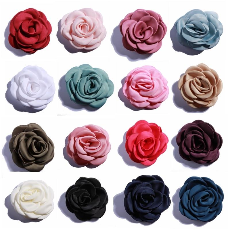 10 PZ 9.5 CM Neonato Grandi Bruciato Eage Fiore Con La Clip Per Capelli Accessori Laminato Rosa Raso Fiori In Tessuto Per abbigliamento Headwear