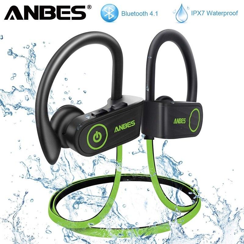 ANBES IPX7 Wasserdichte Bluetooth 4,1 Kopfhörer Noise Cancelling Kopfhörer HiFi Stereo Drahtlose Sport Headset Ohrhörer auriculares