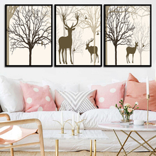 Nordic Poster 24 Styles Deer Bear Fox Tree Moon Rabbit Art Print Canvas Painting Picture Decorative Living Room Home Decor