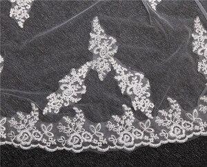 Image 3 - תחרה אפליקציות למעלה דשא 3*1.5M ארוך זנב אחד שכבה תחרה קצה ארוך רכבת יפה כלה רעלה עבור שמלת כלה