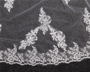 Image 3 - Lace Appliques Top Grass 3*1.5M Long Tail One Layer Lace Edge Long Train Beautiful Bridal Veil For Wedding Dress