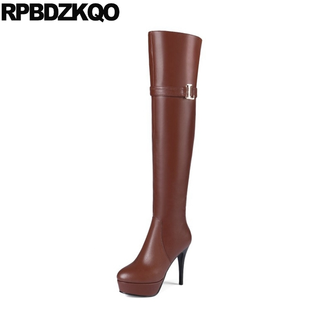 Mujer Zapatos PU Invierno Botas de Moda Botas Tacón Stiletto Dedo Puntiagudo Sobre la Rodilla Rojo / Azul / Rosa oLETfMZNlm