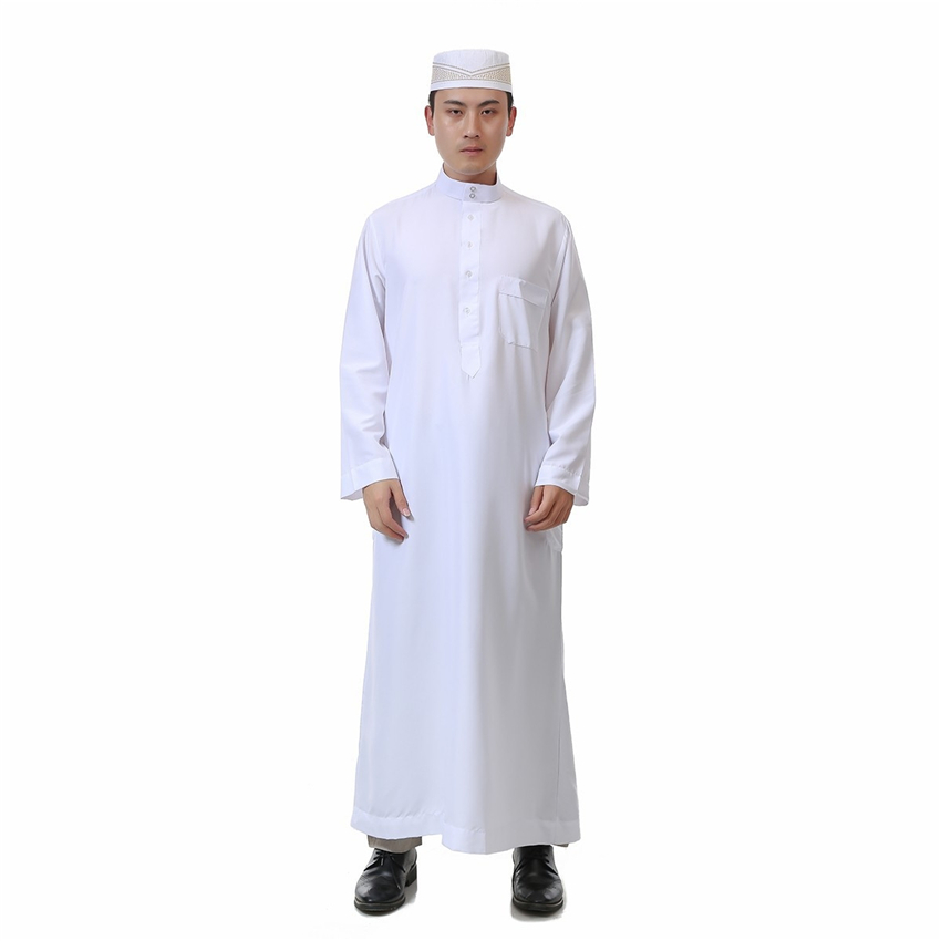 359c28ca675f Men Jubba Thobe Muslim Robes Arab Abaya Dubai Kaftan for Islamic Clothing  White Cotton Arabic Prayer Eid Clothes Man Thobe