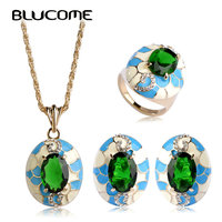 Luxurious Dubai 18k Gold Ouro Enamel Emerald CZ Diamond Jewellery Set Earring Ring Necklace Parure Bijou