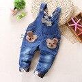 O envio gratuito de 2017 primavera outono bebés meninos rompers, Bib do bebê Macacão jeans