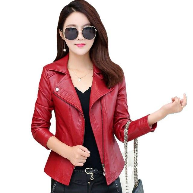 Короткие Дизайн Мотоцикла Кожаные Куртки Женщин Плюс Размер 4XL Тонкий Кожаное Пальто Женский Верхняя Одежда Кожаная Одежда