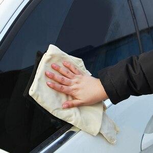 Image 3 - Toalla de limpieza de gamuza de secado Natural para coche toallas para limpiar coches paño de secado y lavado 30*60 cm Toalla de lavado de coches esponja cepillo