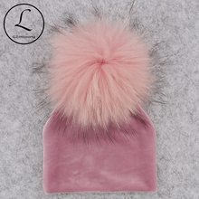 GZHILOVINGL Real Fur Pom Pom Baby Girls Boys Hat Warm Winter Knitted Velvet Hat Toddler Kids Soft Thick Flannel Beanies Pompoms