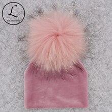 GZHILOVINGL sombrero para bebé con pompón de piel Real, sombrero para niñas y niños cálido tejido para invierno, sombrero de terciopelo para niños pequeños, gorros suaves y gruesos, pompones de franela